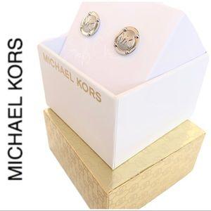 NWT authentic MK Silver tone logo stud earrings